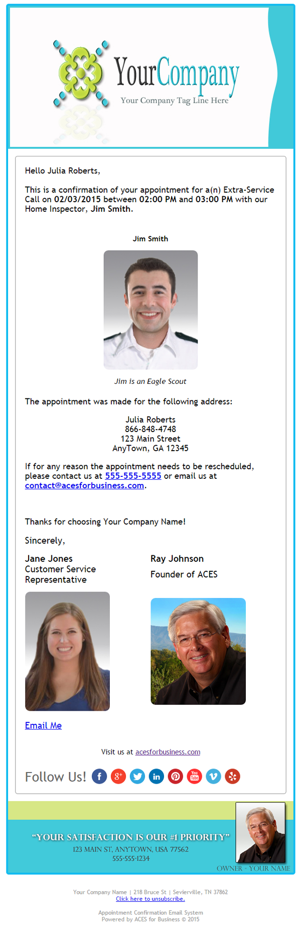 appointment confirmation email services