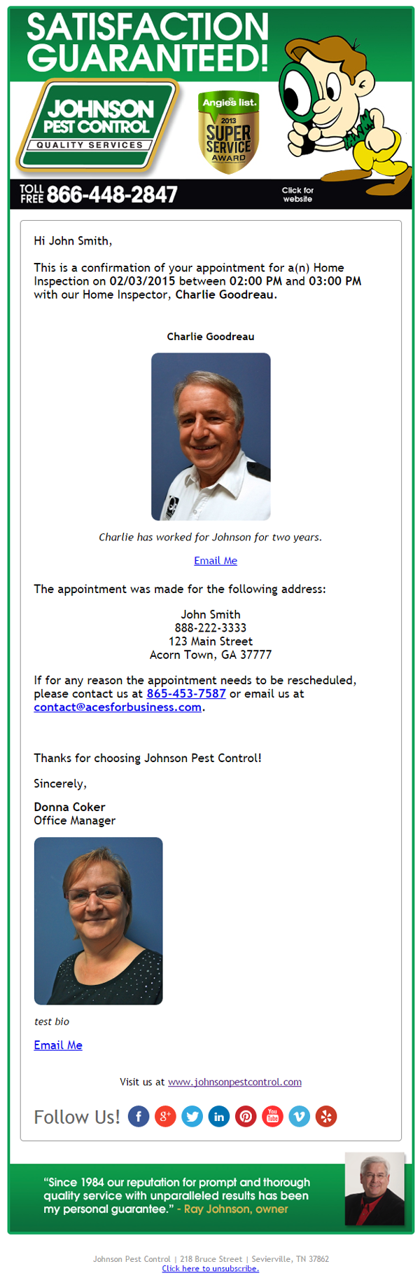 appointment confirmation email service for pest control companies